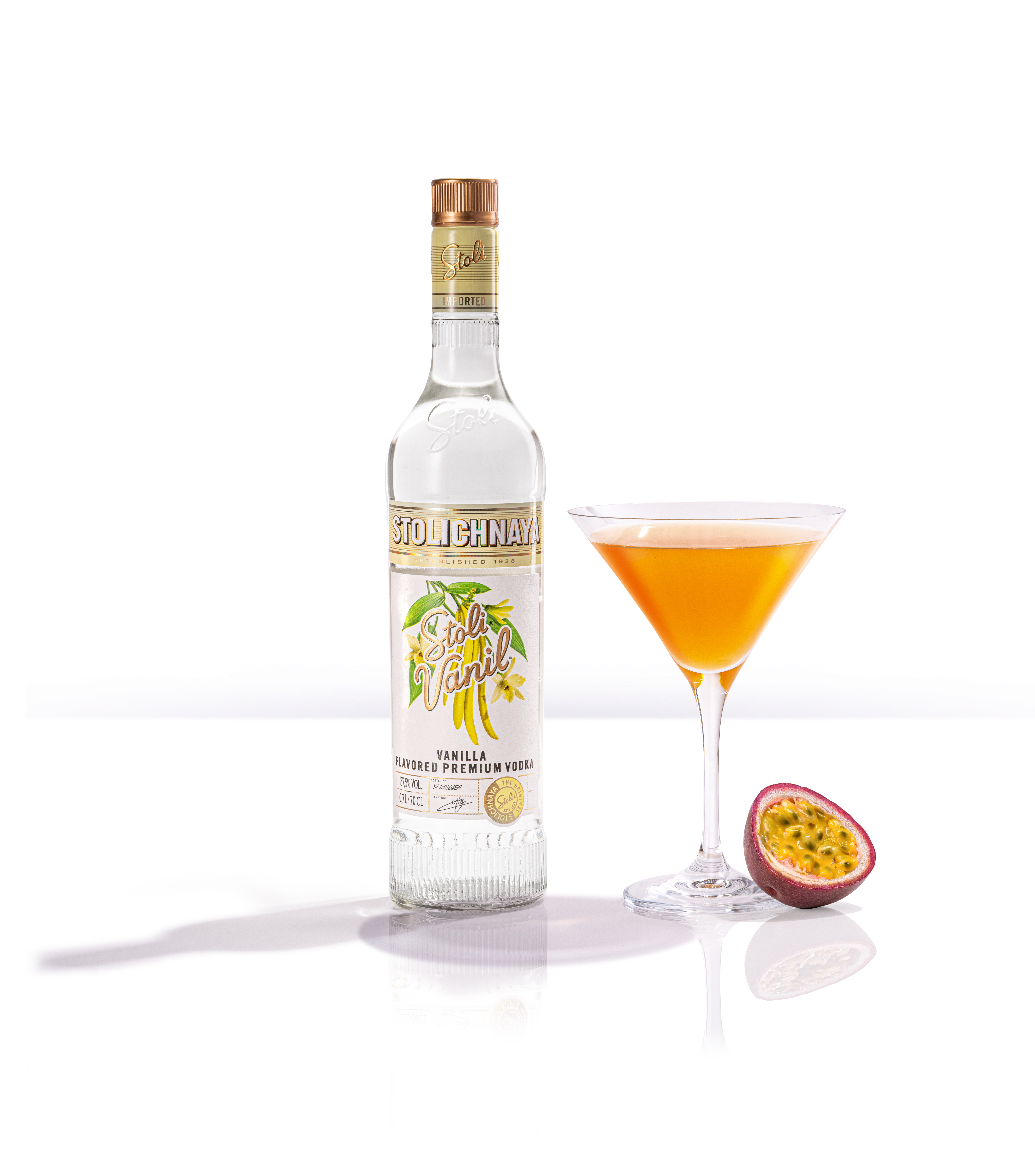 Vanilla Pornstar cocktail devised by The Cocktail Service for the Stoli Vodka Signature Serves drink brand consultancy project